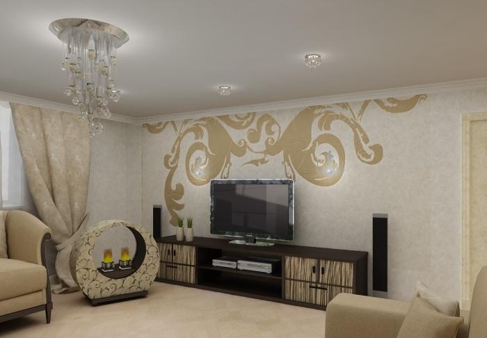 Современная гостиная, оформленная преимущественно в бежевых тонах с необычным рисунком на обоях в зоне для просмотра телевизора.