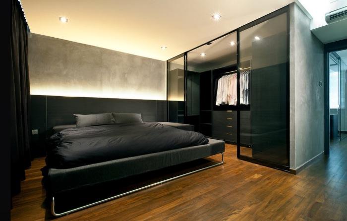 Строгий интерьер в современной спальной комнате, который всегда будет в тренде.