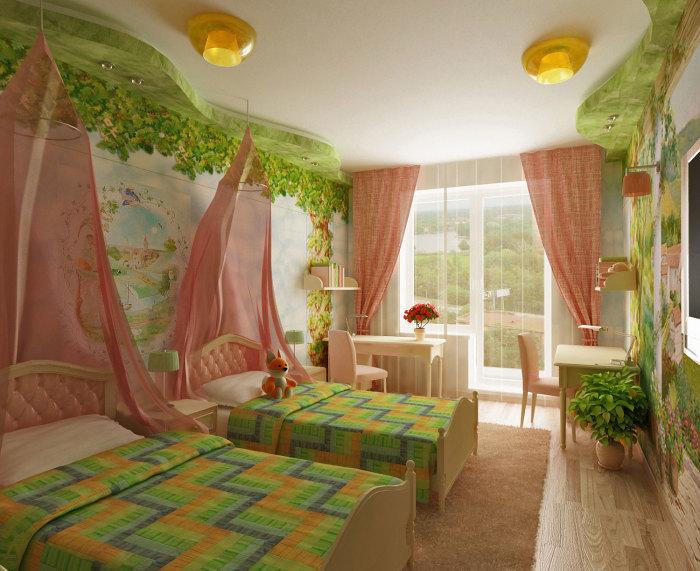 Детская комната с элементами природы и сказочного сюжета в декоре.