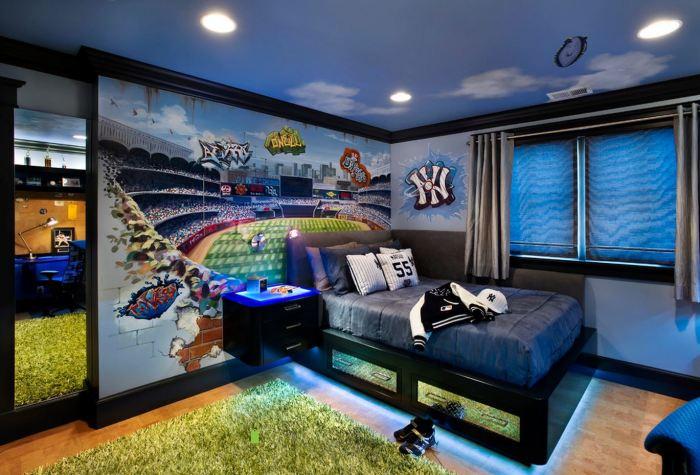 Подростковая комната для мальчика, который по-настоящему любит футбол.