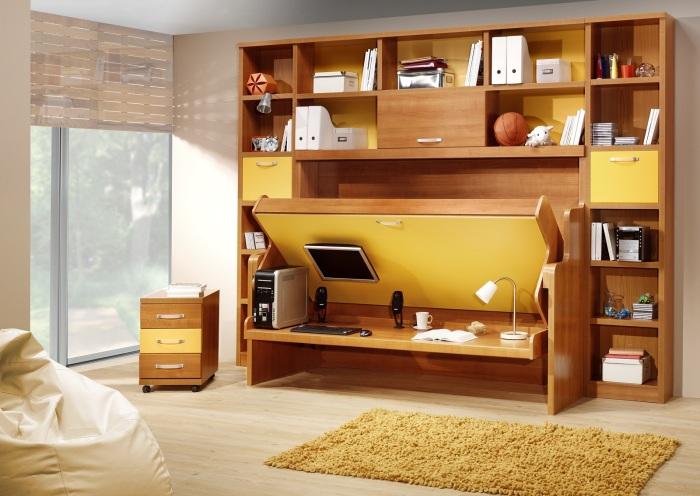 Многофункциональная мебельная стенка, которую в любой момент можно превратить в портативный офис.