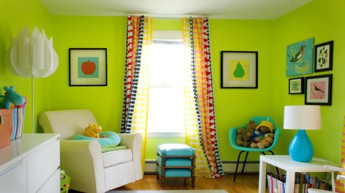 Все оттенки зелёного цвета оказывают благоприятное воздействие на ребенка.