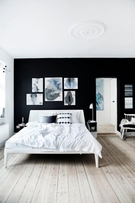 Контрастная стена в интерьере спальной комнаты - очень необычное и смелое решение.