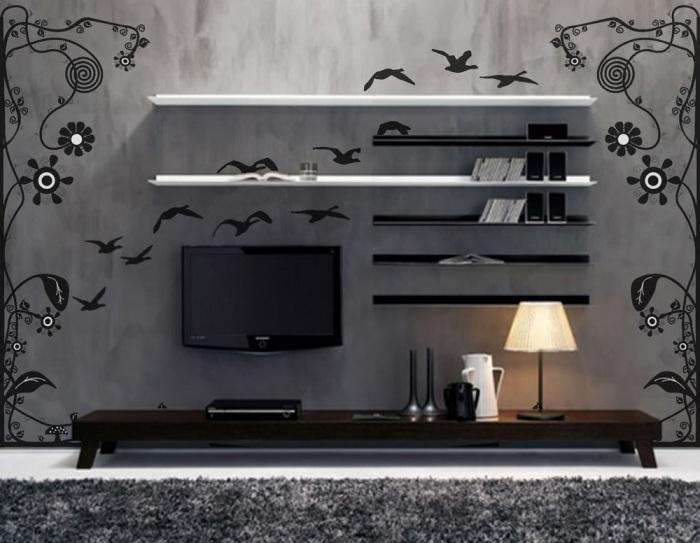 Обои в гостиной комнате, которые создают по-настоящему сказочную атмосферу.