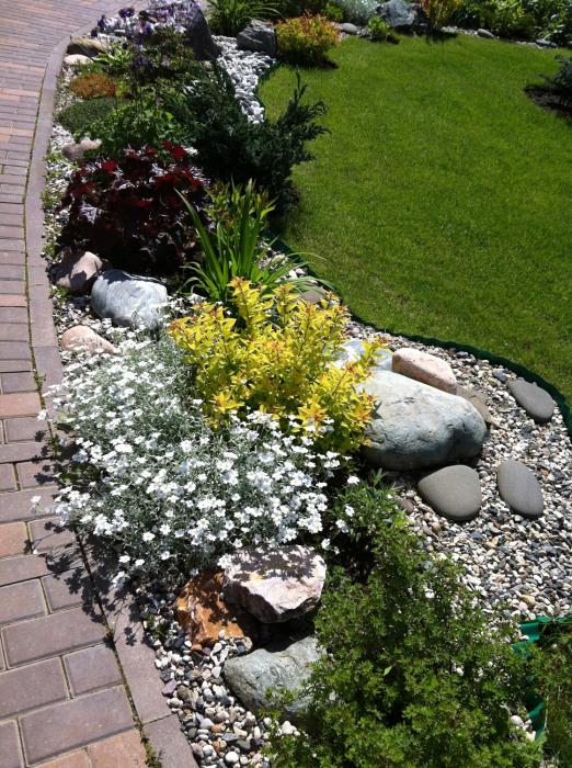 Рокарий в месте соединения различных планировочных линий садового участка.