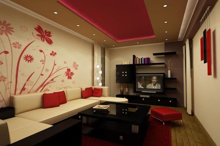Красный цвет создает яркий акцент в интерьере гостиной комнаты.
