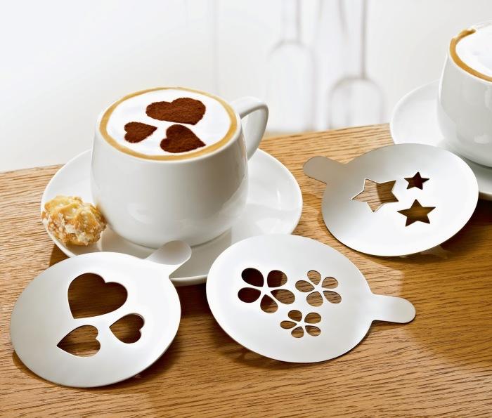 Трафареты для кофе можно сделать своими руками и распечатать дома.