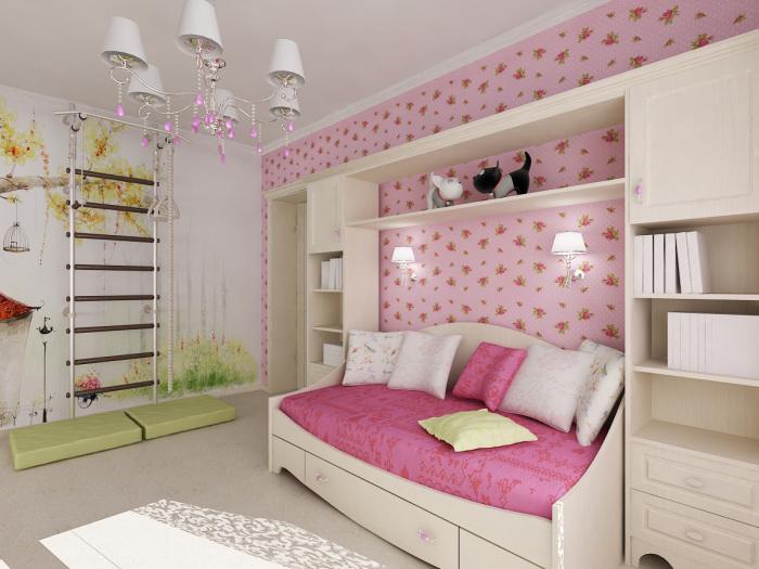 Бело-розовые тона смотрятся легко и нежно в интерьере детской комнаты.