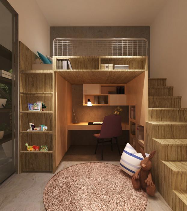Стеллаж, который позволит организовать рабочее место и спальню в одной комнате.