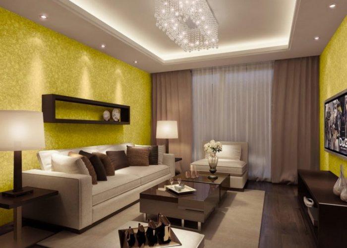Сочетание желтого и бежевого цвета является наиболее распространенным и выгодным решением для гостиной комнаты.