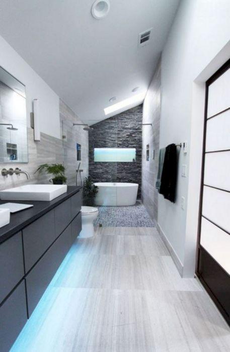 Светодиодная подсветка широко используются для яркого и эффектного декорирования мебели в ванной комнате.