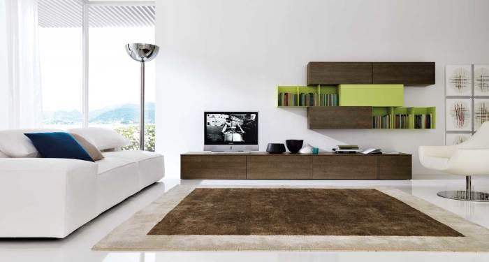 Модульная система, идеально вписывающаяся в интерьер гостиной комнаты.