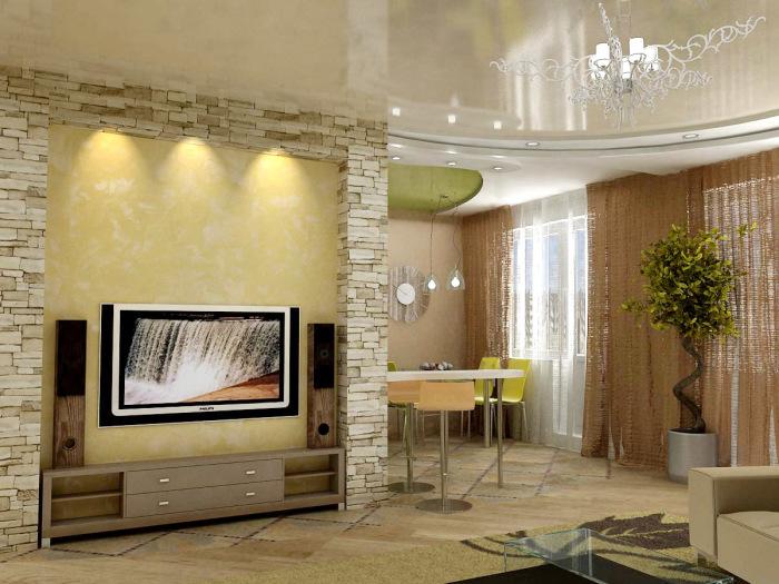 Зона для просмотра телевизора, выделенная искусственным камнем светлого оттенка.