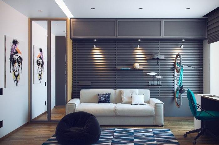 Интерьер подростковой комнаты, стилизованный под тематику увлечений юноши.