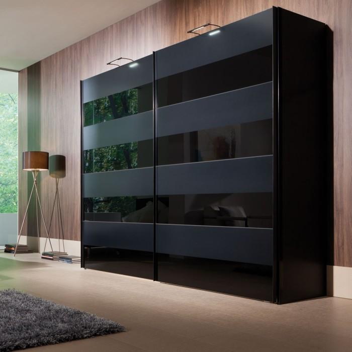Современный матовый двухдверный шкаф станет необычным решением для спальной комнаты.