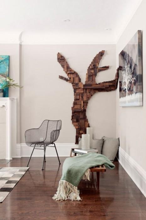 Панно из натурального дерева добавит домашнего уюта и подчеркнет стилевую направленность в интерьере.