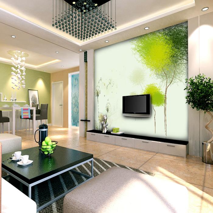 Растительная композиция на обоях придаст гостиной нежные очертания.