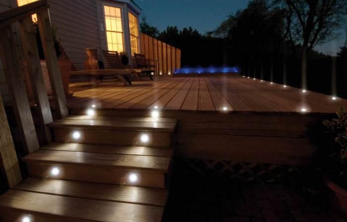 Для световых акцентов границы террасы или сада можно использовать встроенные светильники.