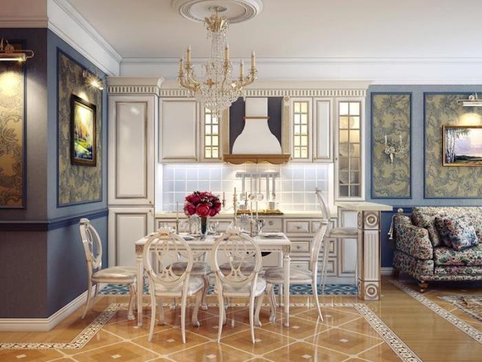 Для отделки стен и полов маленьких кухонь подойдут только светло-серые, серо-голубые или серо-бежевые оттенки.