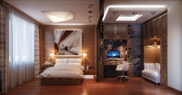 Эргономичный домашний офис отлично впишется в современный интерьер спальной комнаты.