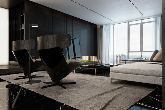 Отличный вариант декорировать апартаменты в черно-белых тонах, что создаст приятную атмосферу для отдыха.