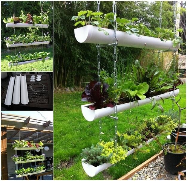 Оригинальная идея выращивания цветов и растений в трубах из полихлорвинилхлорида.