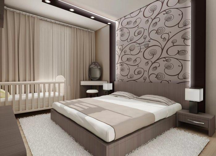 Максимальная экономия площади спальной комнаты – немаловажная особенность современного стиля.