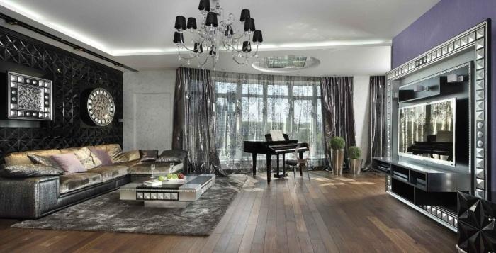 Cветлая гостиная комната с множеством акцентных элементов, оформленная с максимальной функциональностью и комфортом.