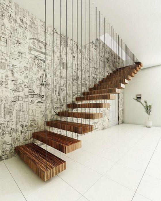 Стальные тросы, поддерживающие ступеньки лестницы, создадут удивительную иллюзию.