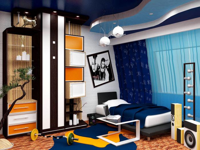Современный и универсальный дизайн подростковой спальной комнаты.