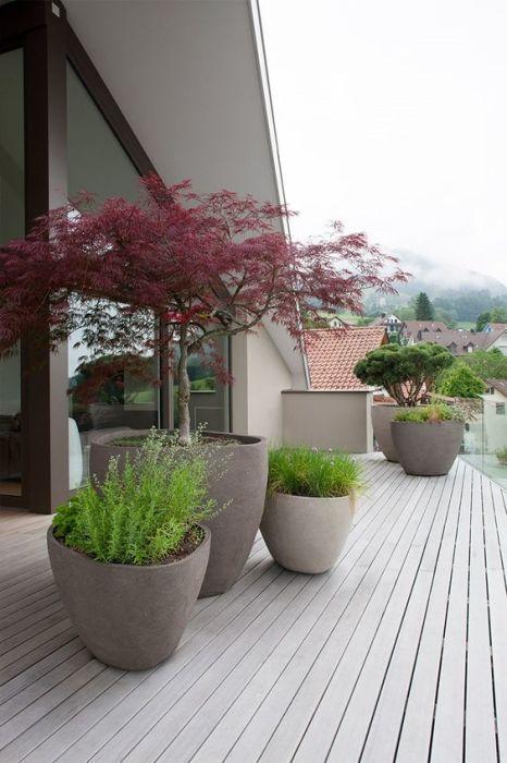 Каменные и бетонные кашпо, подходящие практически для любого ландшафтного дизайна.
