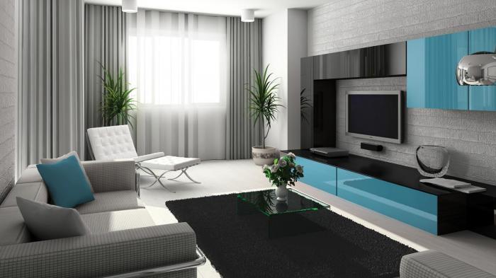 Удивительная композиция трех оттенков, создающая приятное настроение в гостиной комнате.