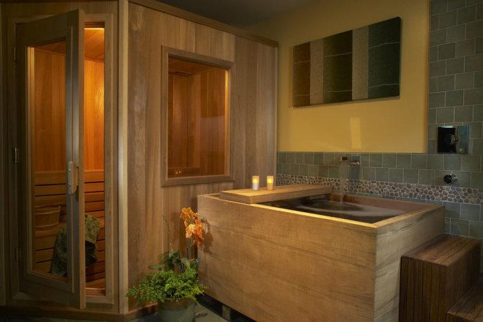 Дизайн ванной комнаты в классическом японском стиле.