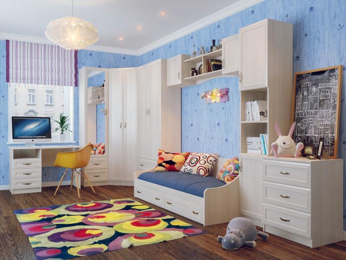 Детская комната, в которой акцентными элементами выступают яркие подушки и необыкновенный ковёр.