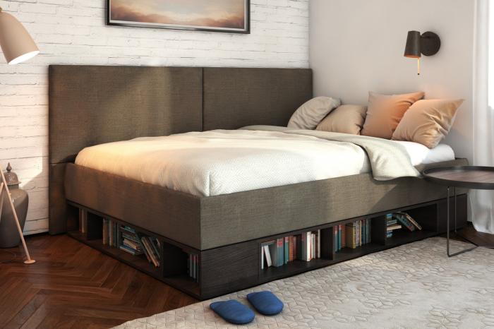 Кровать с нишей, которая отлично приспособлена под функциональную систему хранения книг.