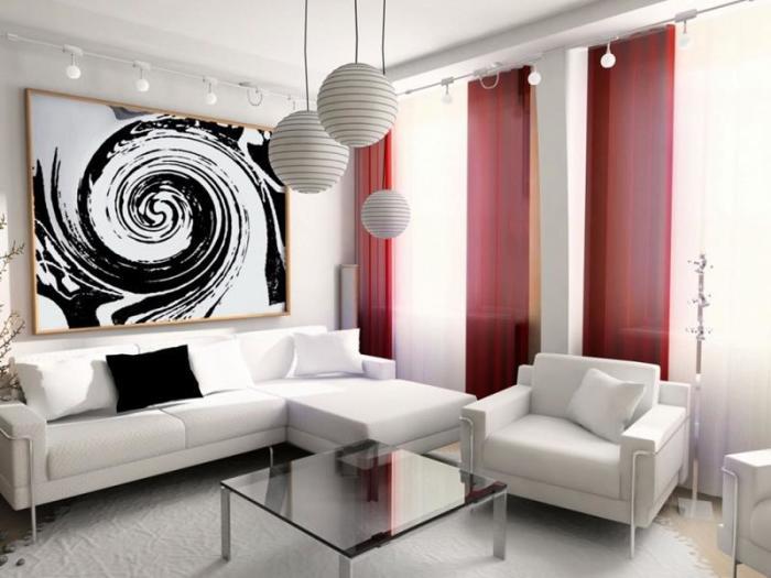 Светлая гостиная комната, оформленная по свежим трендам дизайна.