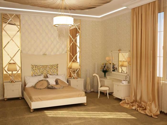 Интерьер полнометражной спальной комнаты в золотых тонах.