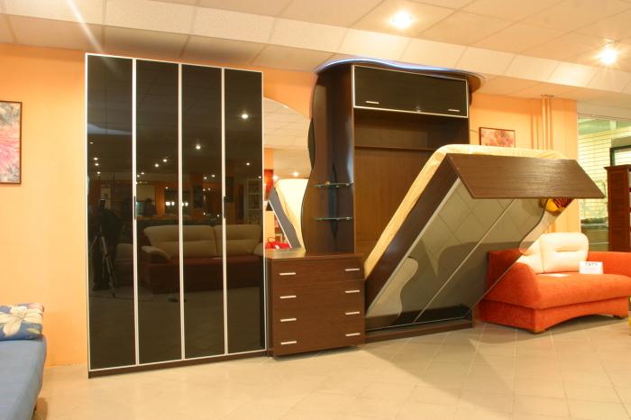 Модульная система с встроенной раскладной кроватью для малогабаритных помещений.