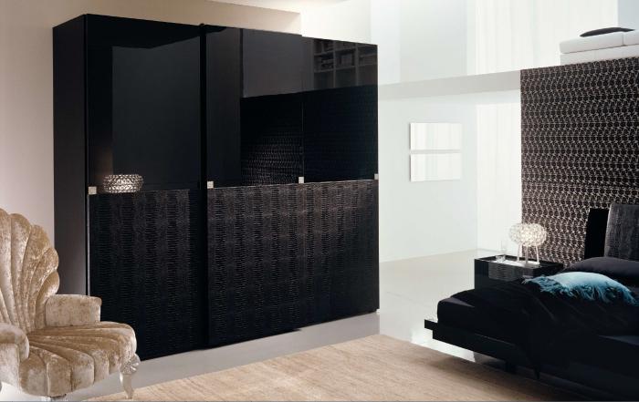Модульный матовый шкаф в интерьере спальной комнаты.