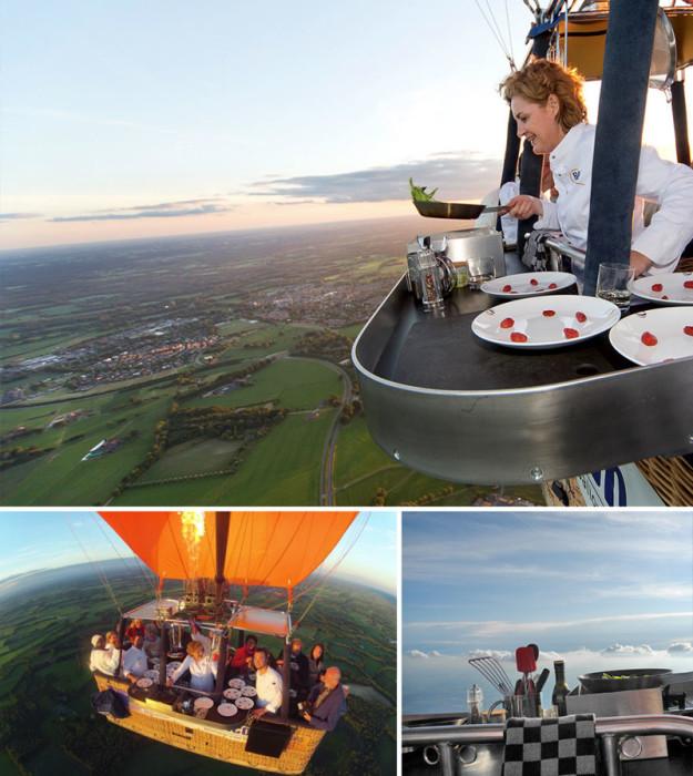 Ресторан, в котором можно отобедать под облаками. Нидерланды, «Culiair».