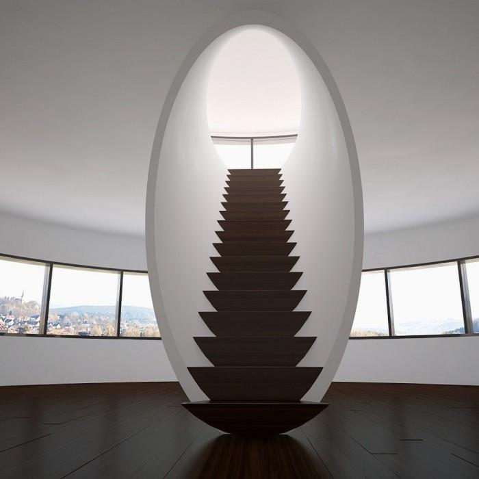 Сходи з дерев'яними сходинками, природними квітами з матеріалів у мінімалістському інтер'єрі.