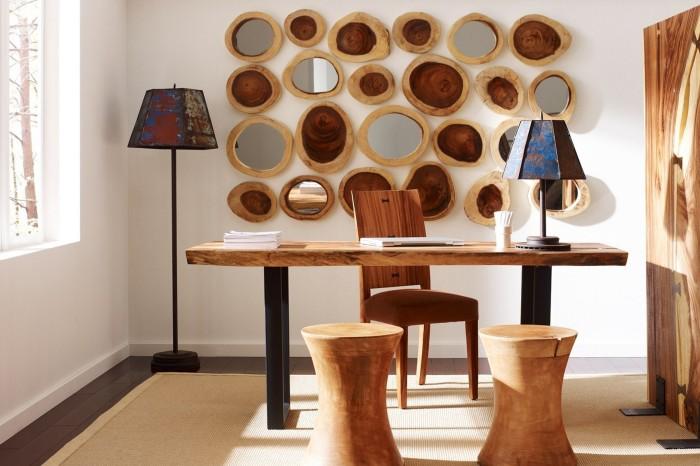 Главные элементы дизайна помещения с множеством деревянных элементов - это уютная и спокойная обстановка.