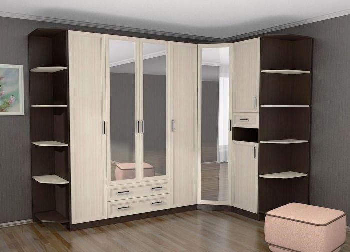 Классический угловой шкаф, который максимально экономит и не загромождает пространство спальной комнаты.