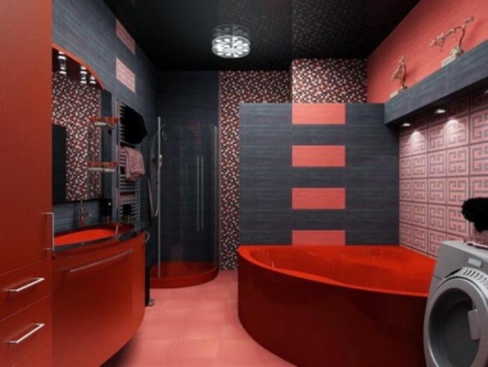 Яркий и очень смелый интерьер ванной комнаты в современном стиле.