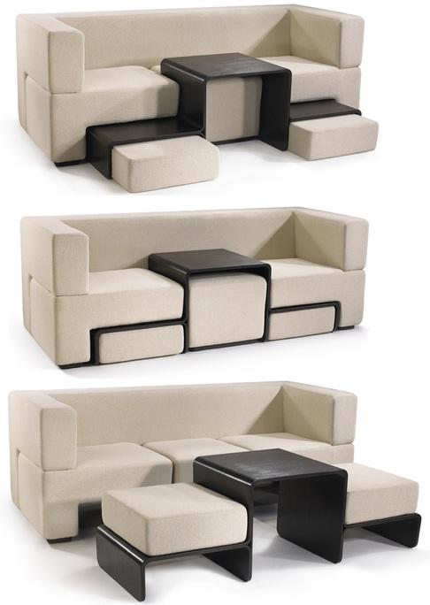 Необычный современный диван, который легко трансформируется в журнальный столик с двумя сидениями.