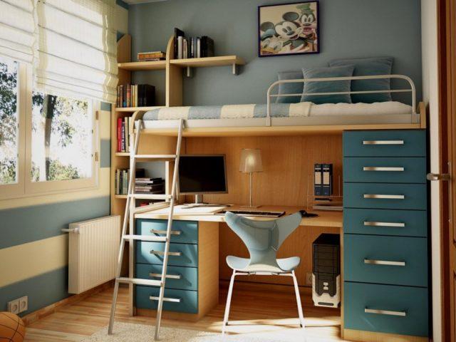 Рабочая зона, совмещённая с кроватью - эргономичное, комфортное и безопасное решение.