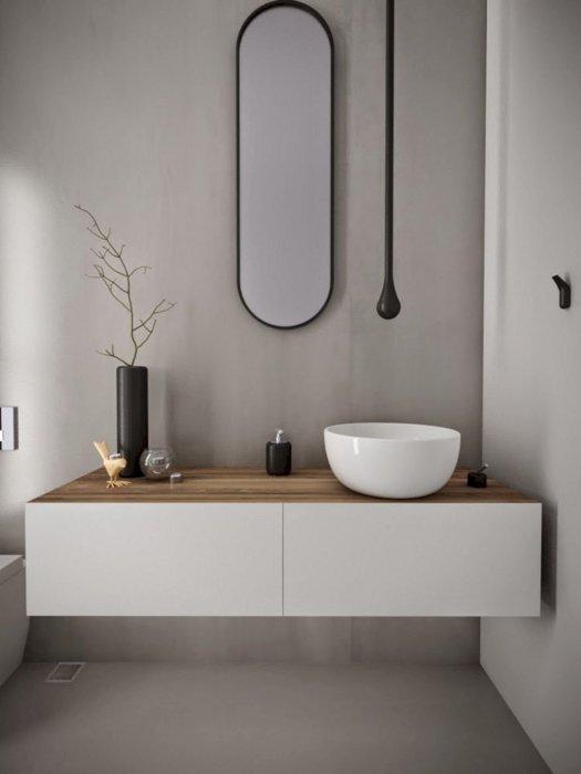 Современный интерьер ванной комнаты в минималистском стиле - отличное решение как для полнометражной, так и для малогабаритной квартиры.