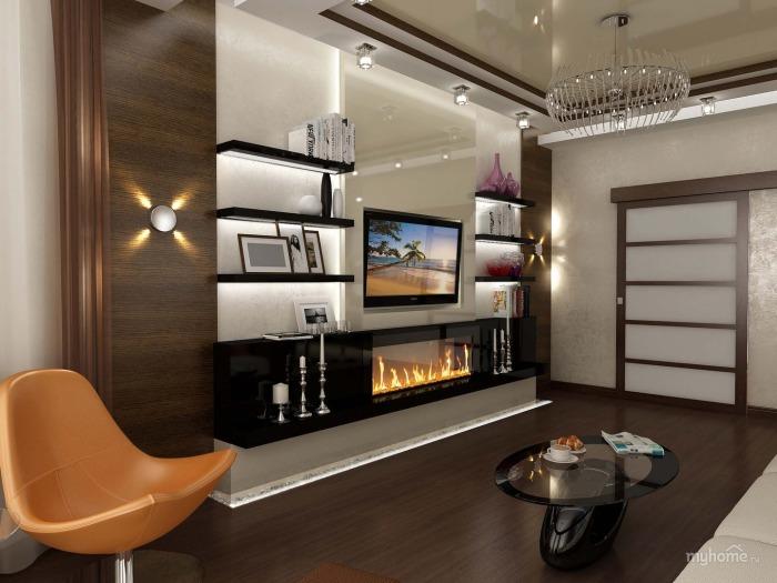 Эксклюзивная мебельная конструкция под телевизор и электрический камин в гостиной комнате.