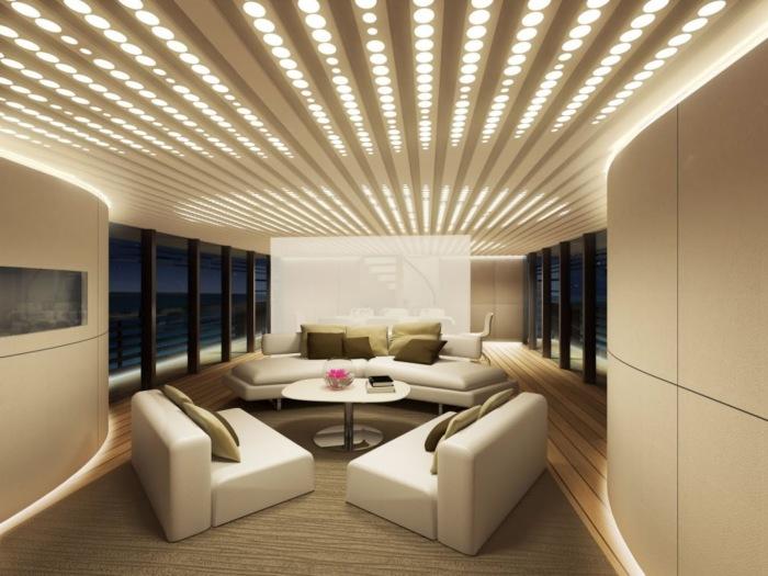 Вмонтированные точечные потолочные светильники, которые выглядят более эстетично и современно.