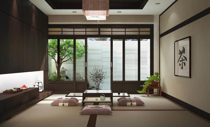 Просторная гостиная комната, в которой воспроизведены основные дизайнерские концепции японского стиля.
